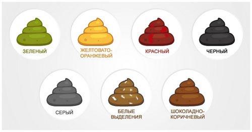 Определение патологии по цвету кала